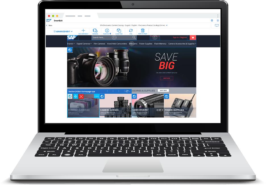 sap commerce cloud smart edit on laptop